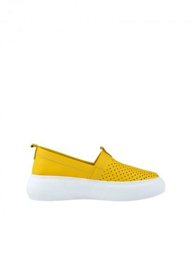 Dámske kožené mokasíny žlté
