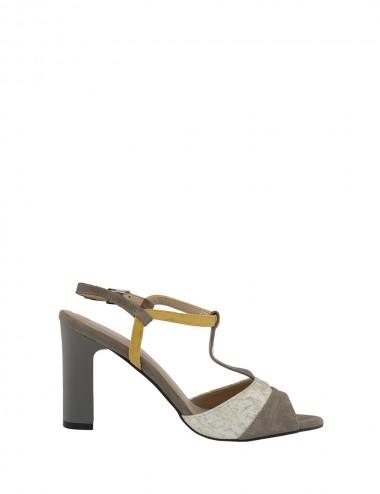 Dámske kožené  sandále šedo...