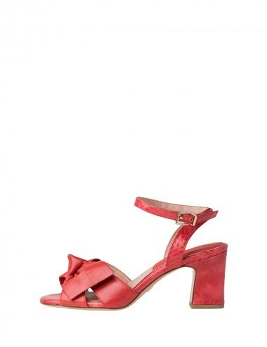 Dámske kožené sandále červené