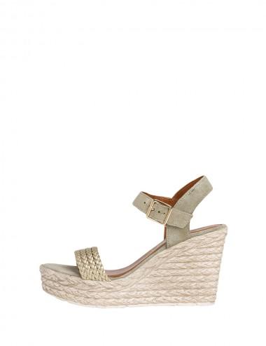 Dámske kožené sandále zelené