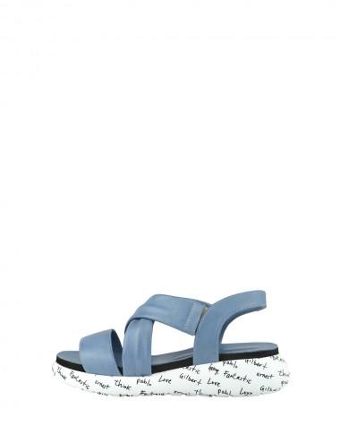 Dámske kožené sandále modré
