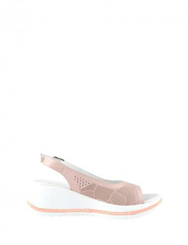 Dámske kožené sandále ružové