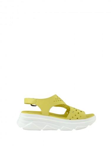 Dámske kožené sandále žlté
